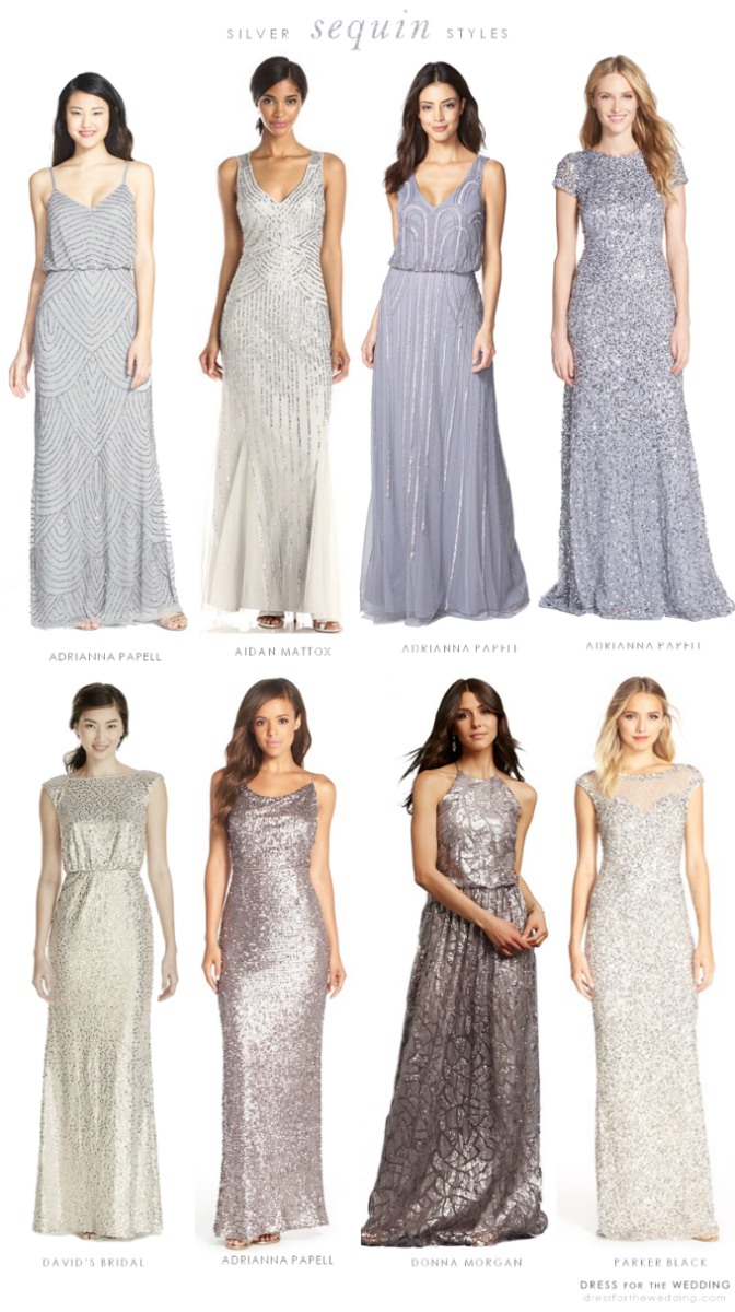silver sequin dresses for bridesmaids