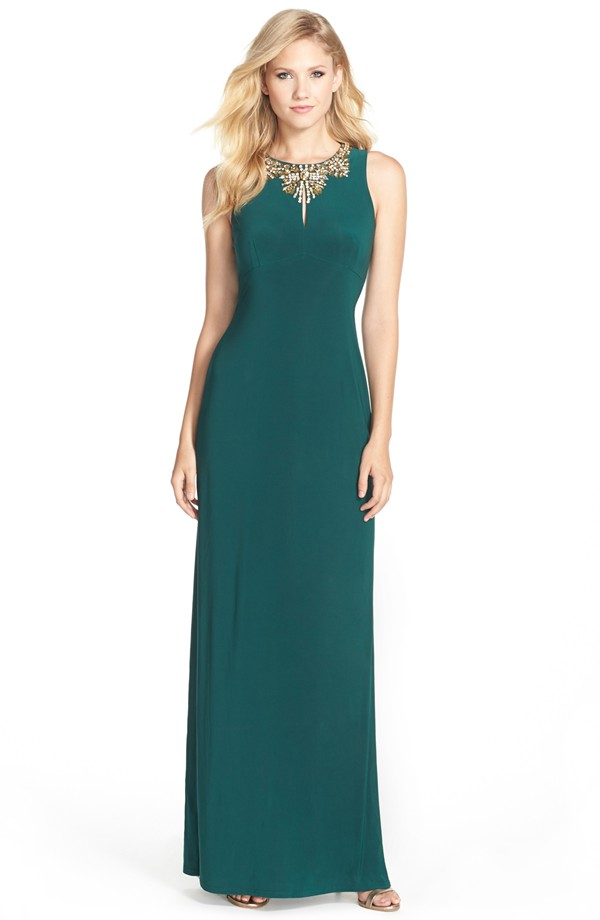 Embellished green gown | By Vince Camuto from Nordstrom