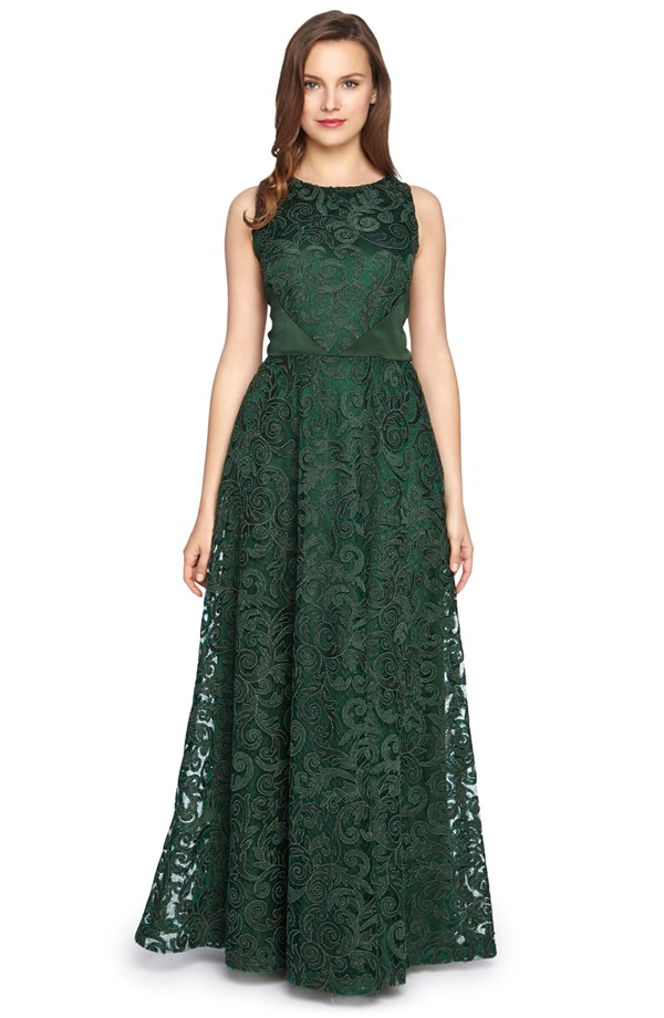 Emerald green lace gown |By Tahari from Nordstrom