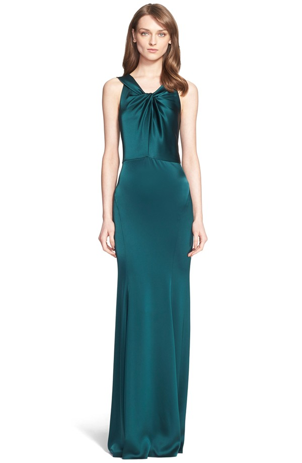 Dark green Liquid Satin green evening gown by St. John