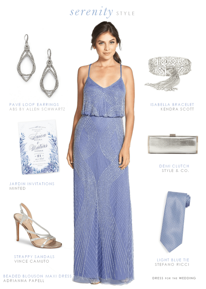 Beaded light blue maxi dress | Pantone Serenity Blue