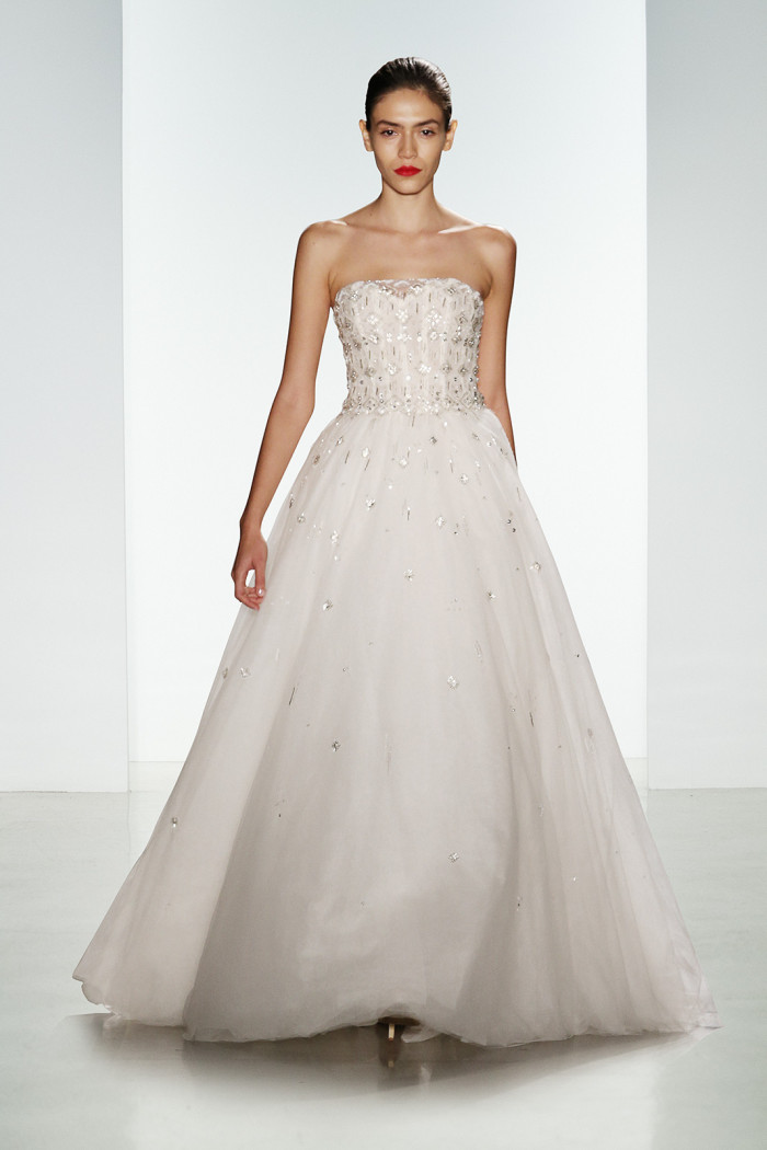 Carrington a strapless embellished wedding gown by Amsale