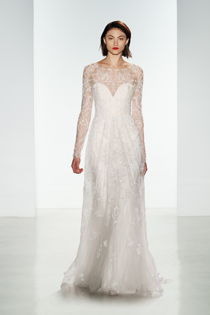 Long sleeve wedding dress with sheer sleeves | Cole by Amsale