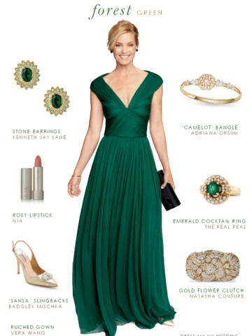 Dark green evening gown | Emerald green dress