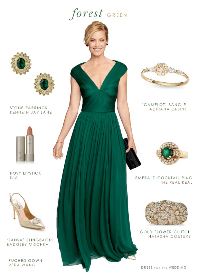 Forest green gown for How to dress for an evening wedding