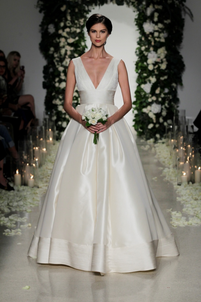 Stunning V-Neck Silk Bridal Gown   Anne Barge Wedding Dresses Fall 2016