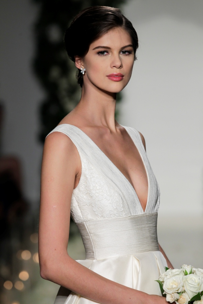 Langham by Anne Barge  Plunging neckline Anne Barge Wedding Dress   Photo by Dan Lecca