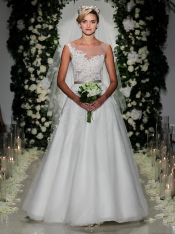 """""""Cadogan' Wedding dress with illusion neckline and embellished detail   Anne Barge Fall 2016 Collection   Photo by Dan Lecca"""