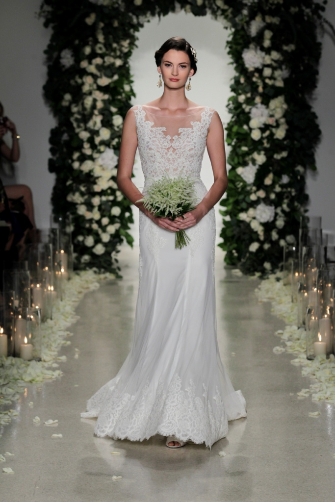 """""""Hampton"""" an elegant wedding dress with sheer lace detail neckline   Anne Barge Fall 2016 Bridal Collection   Photo by Dan Lecca"""