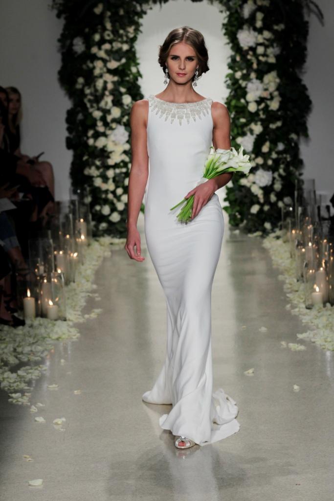 """Gotham' Anne Barge Black Label   Sleek embellished neckline wedding dress  Anne Barge Collection Fall 2016   Photography by Dan Lecca"