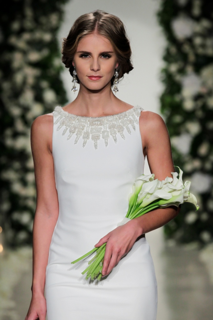 Stunning embellished neckline | Anne Barge Wedding Dresses | Photo by Dan Lecca