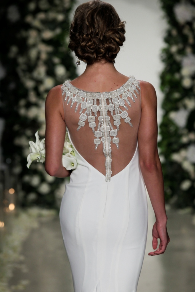 Stunning embellished back detail| Anne Barge Wedding Dresses Fall 2016 | Photo by Dan Lecca