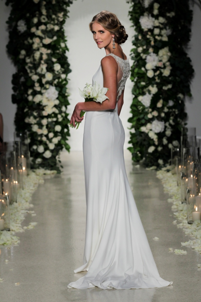 'Gotham' Back detail sleek wedding gown by Anne Barge   Photo by Dan Lecca