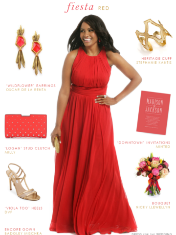 Red gown for a wedding | Fiesta Red Wedding Style