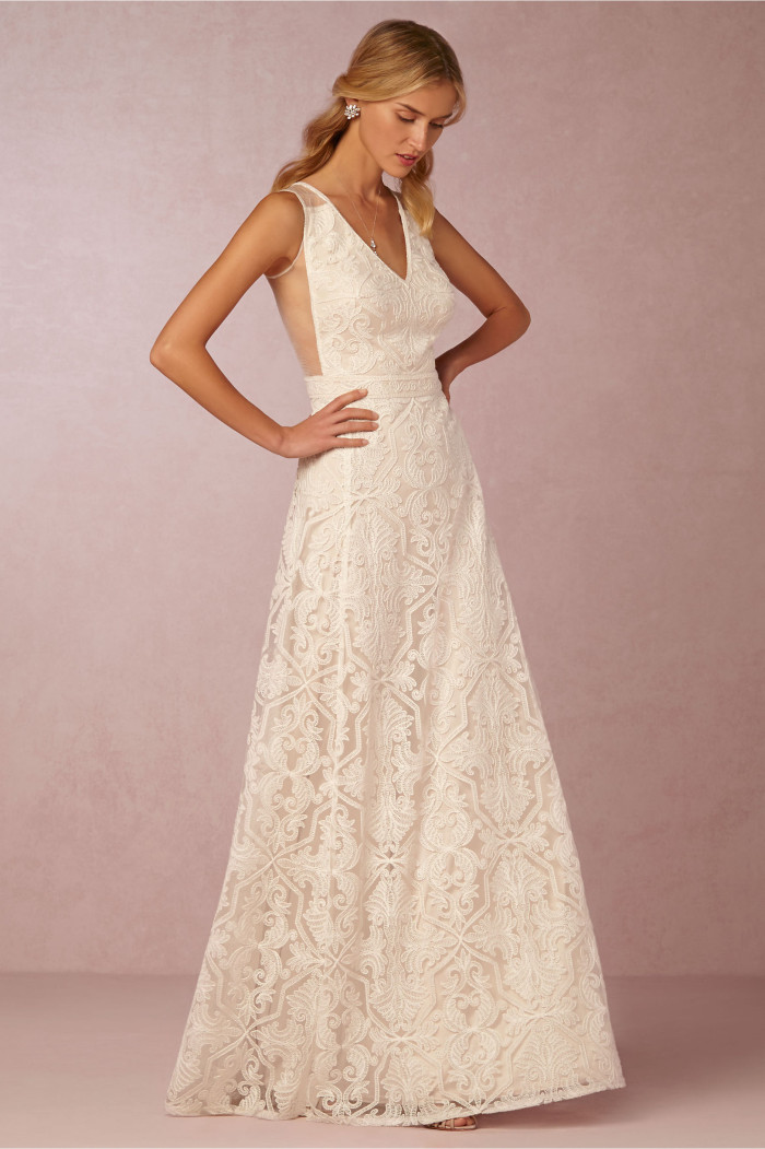 4a88617443 Lace wedding dress with cut out side 'Pendelton' Gown by BHLDN