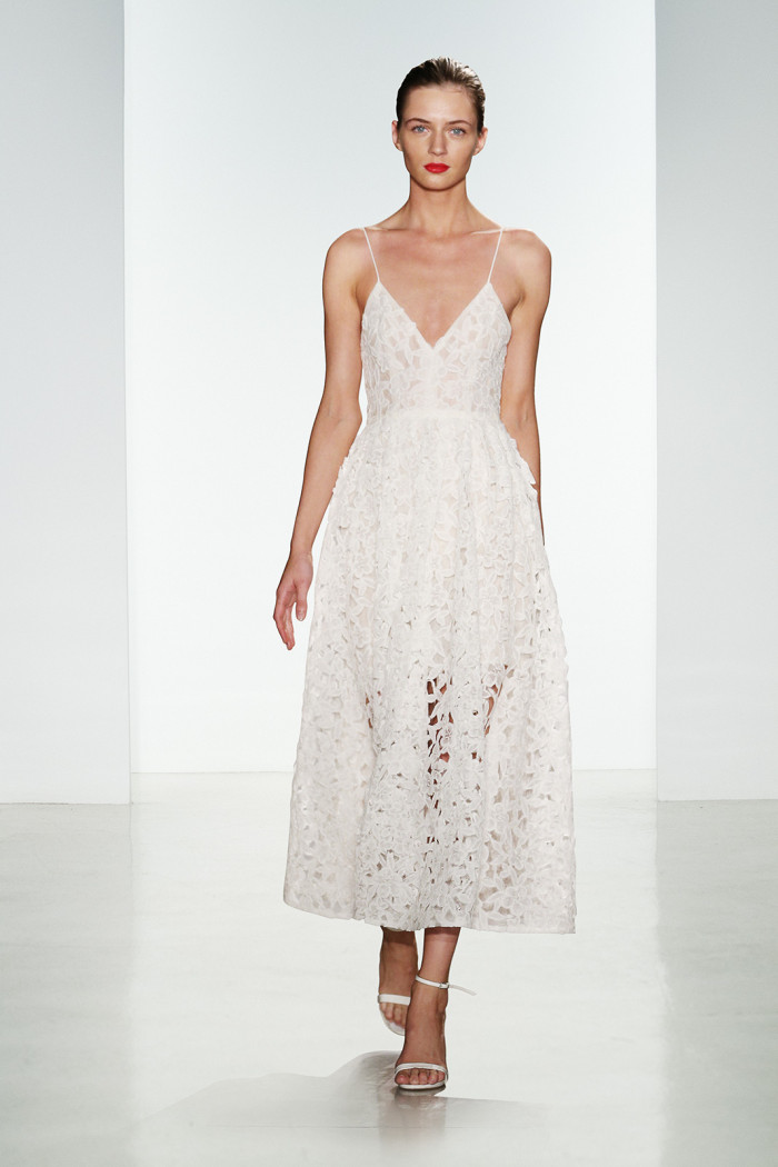 Lace tea length wedding dress by Amsale   Nell   Amsale Fall 2016 Collection