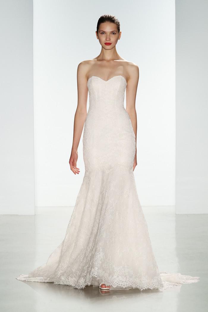 Strapless lace Amsale wedding dress   Presley by Amsale Fall 2016