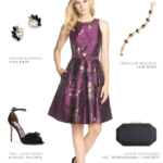 Purple and black dress | Wedding guest outfits