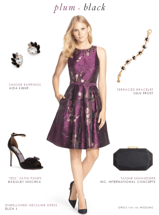 Superb Purple And Black Dress | Wedding Guest Outfits