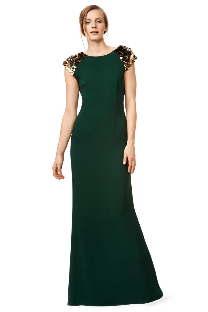 Emerald green gown with embellished sleevesfrom Rent the Runway