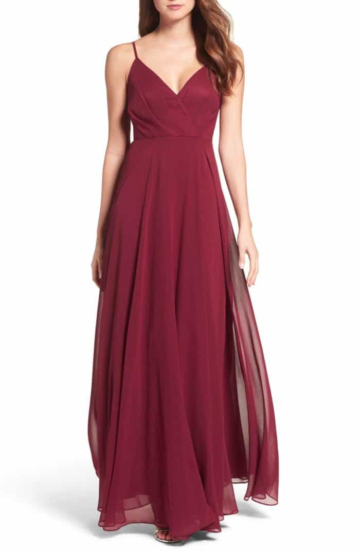 Burgundy maxi dress burgundy dress for a wedding for Wine colored wedding dresses