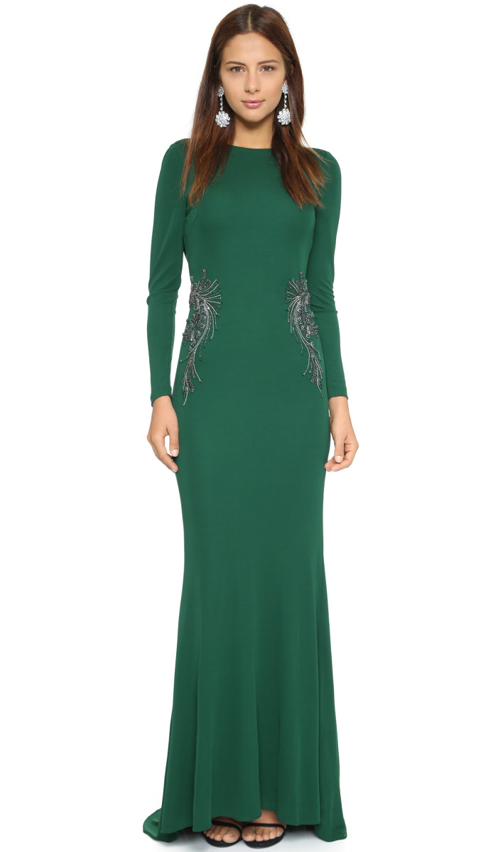 Green Gown with Long Sleeves | Badgley Mischka from Shopbop