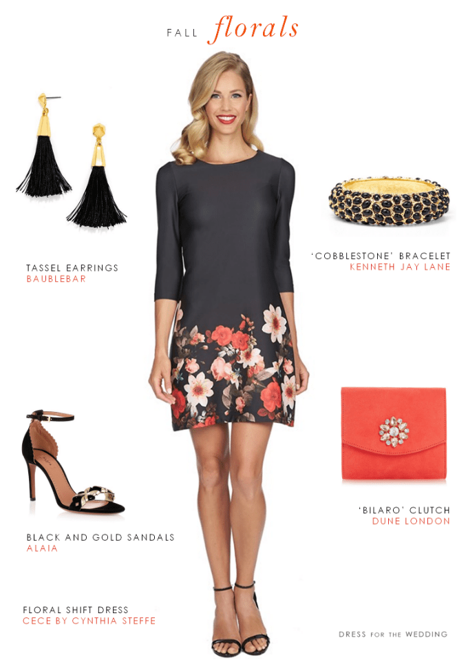 Short black floral shift dress | Outfit for a casual fall wedding