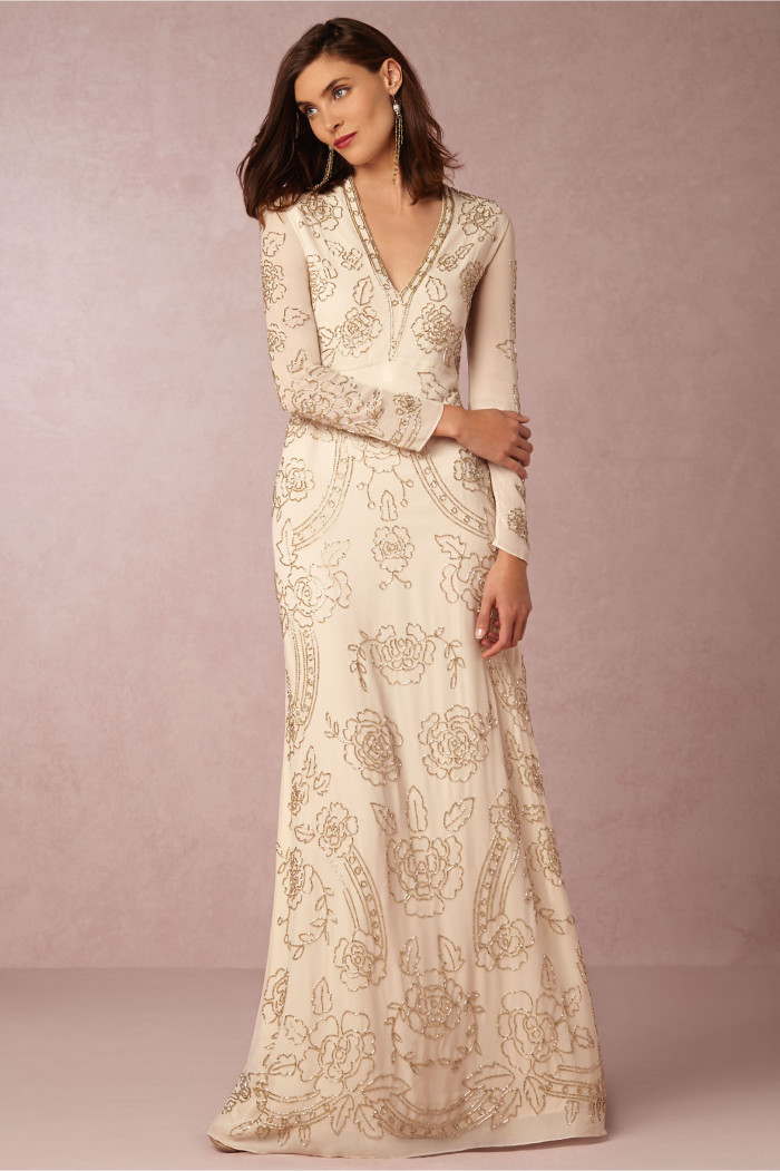long sleeve embellished wedding dress from BHLDN