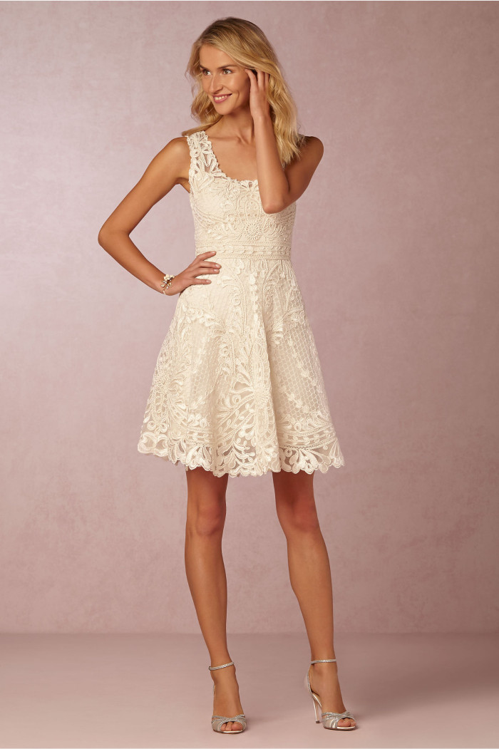 Cute short ivory lace dress from BHLDN