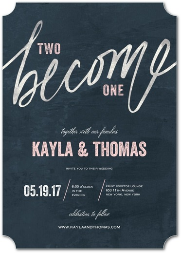 Navy and blush wedding invitation from Wedding Paper Divas