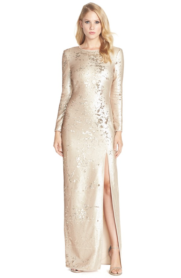 Long sleeve gold gown | By Halston Heritage from Nordstrom