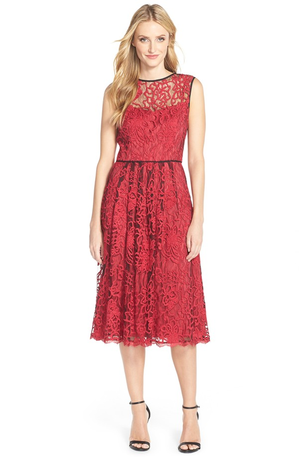 Red lace dress for the holidays | Adrianna Papell dress from Nordstrom
