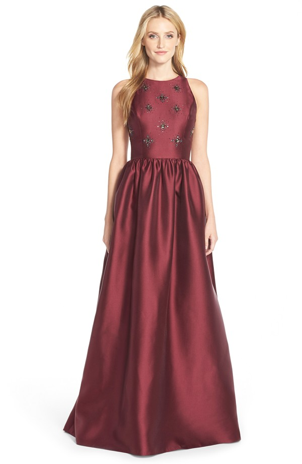 Burgundy embellished ball gown | Adrianna Papell from Nordstrom