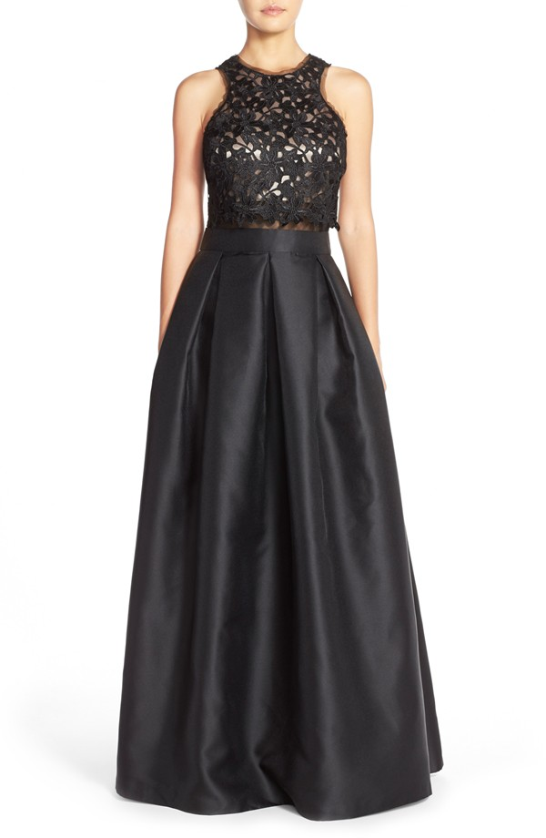 Black lace crop top ball gown