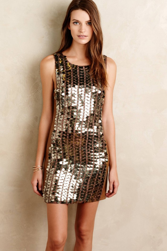 Gold sequin shift dress   Dress from Anthropologie