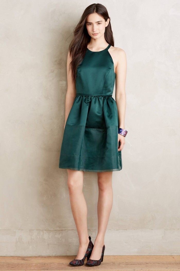 Emerald green cocktail dress | Anthropologie