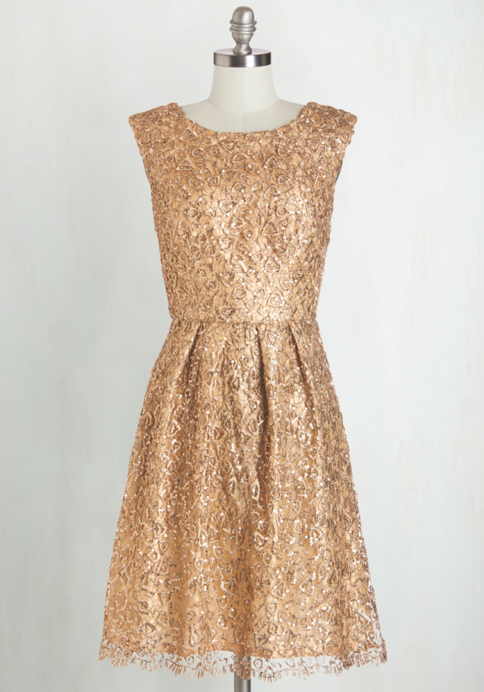 Gold lace dress |Found at ModCloth