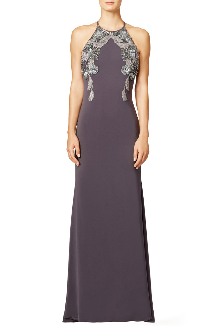 Gray embellished evening gown | From Rent the Runway