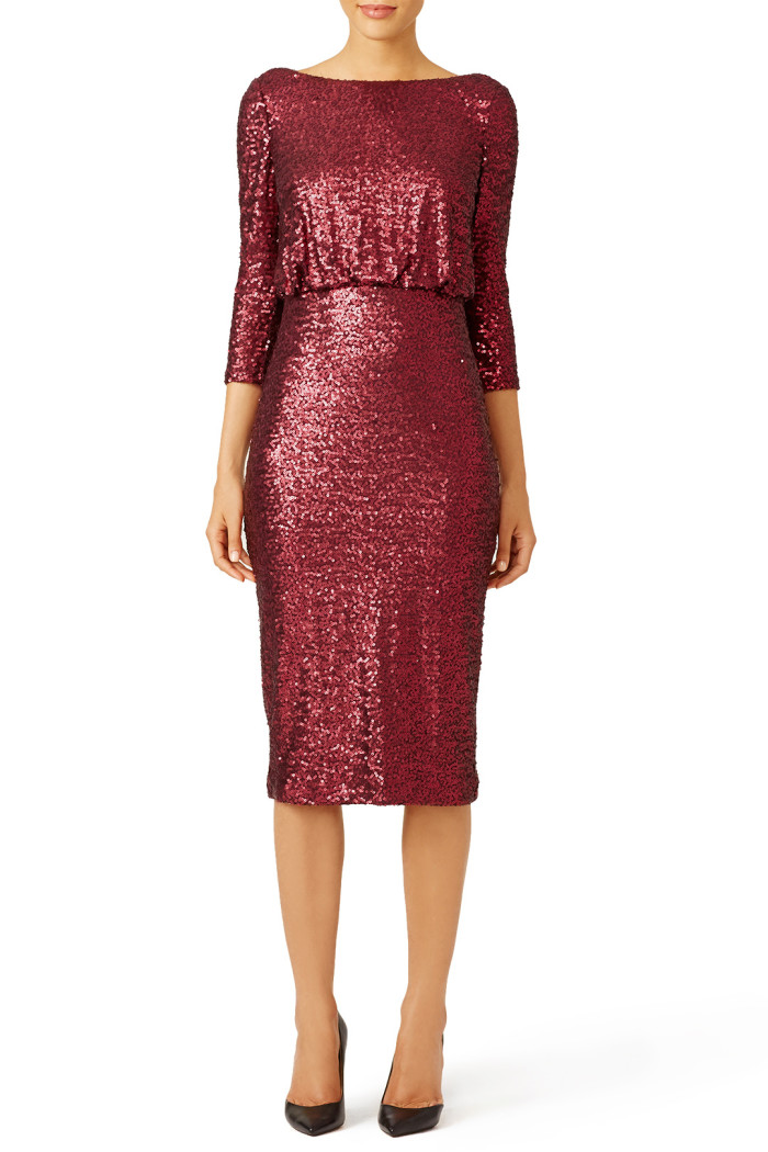 Burgundy sequin dress | Found at Rent the Runway