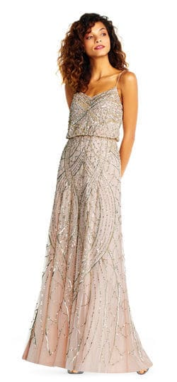 Beaded sequin blush maxi dress with sweetheart neckline