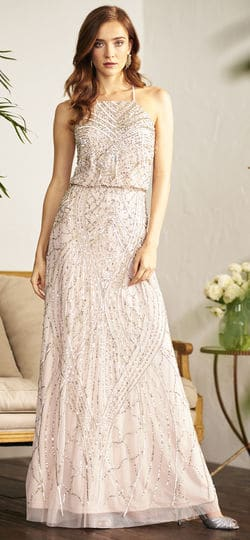 Blush sequin halter gown
