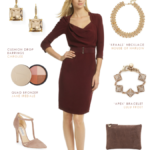 Burgundy Dress with Taupe Accessories