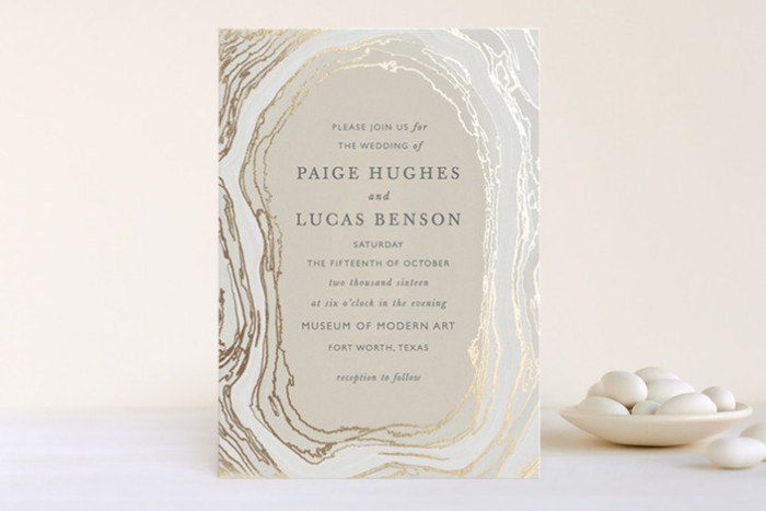 Silver and gold gem wedding invitation | from Minted