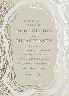 Neutral gold and gray wedding invitation from Minted