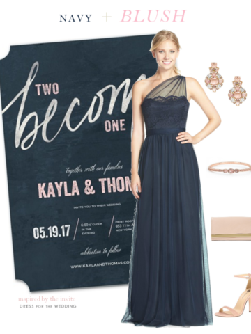 Navy blue and blush wedding style
