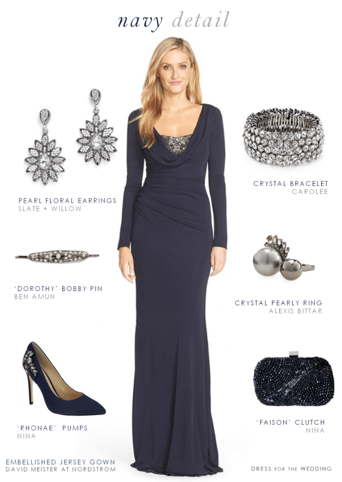 Navy evening gown with long sleeves
