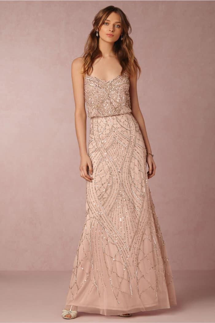 Rose Gold Beaded Maxi Dress for Weddings