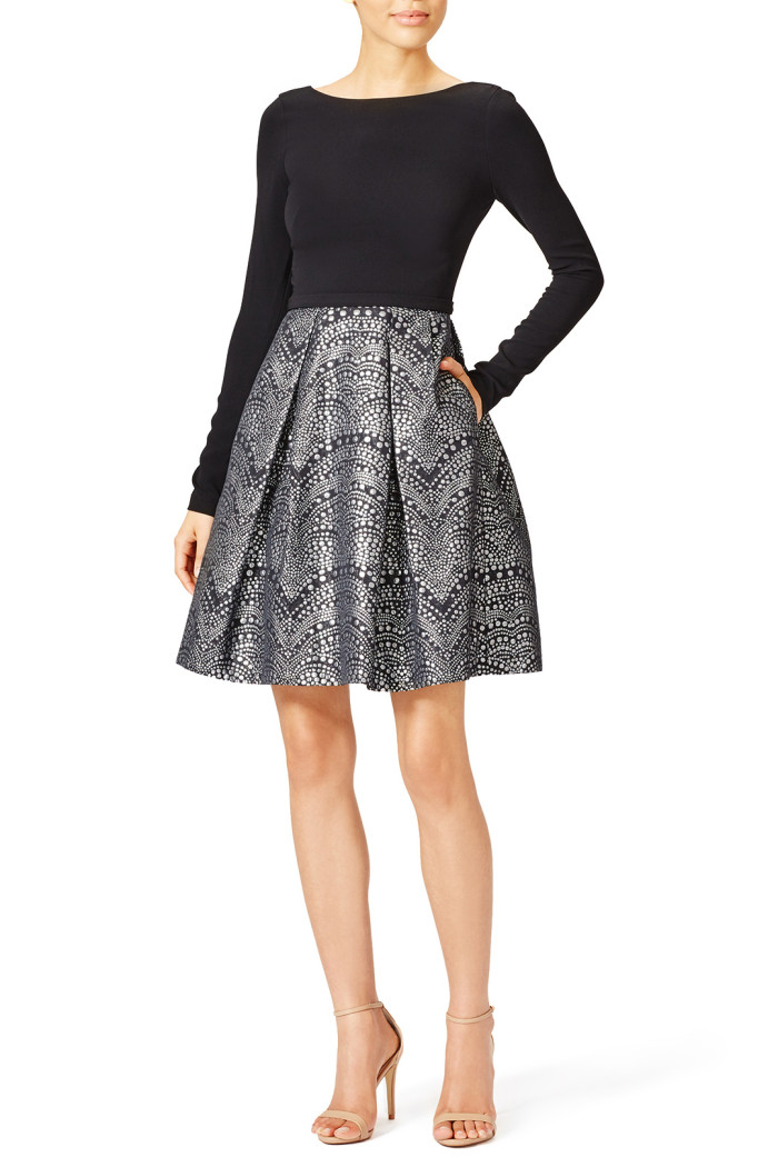 Cute holiday dress with sleeves | 'Nailhead dress' by Thea from Rent the Runway