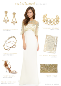 Wedding dress with gold embellishment