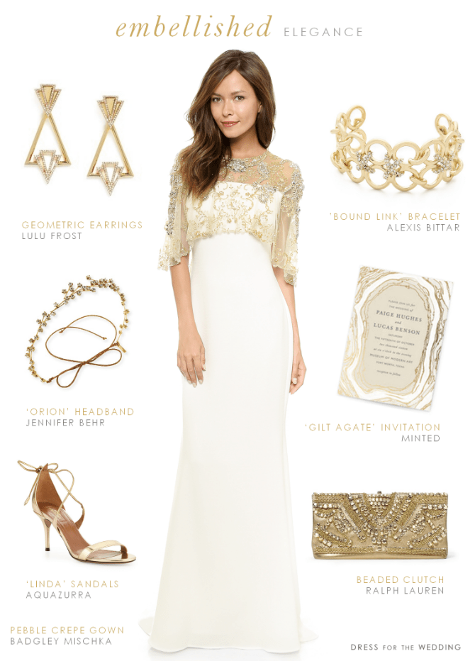 Wedding Dress with Gold Accessories